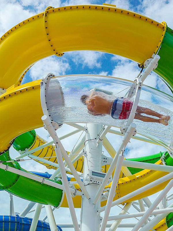 An aerial view of the new features such as FlowRider® and Sky Pad℠ on Mariner of the Seas