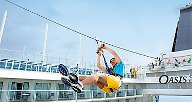Sports Zone, Zip line, Aqua Theater, Balcony, staterooms, activities, sport, man, Oasis of the Seas, OA, Oasis Class, Allure of the Seas