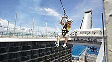 Oasis of the Seas, zip line, OA, Oasis, woman, zipline, Sports Zone, Zip line, Aqua, Theater, balcony, staterooms, Activities, Sport, senior, Oasis of the Seas, OA, Oasis Class, Healy and Fitness,