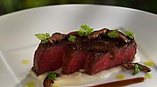 Kobe beef, steak with celery root cream & demi-glace. Best vacation cruise line fine dining cuisine, 150 Central Park.