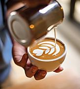 F&B, Drinks, cocktails; beverage package, 2016 Beverage shoot, Cafe Select Coffee Card, cream being poured into cup of coffee in decorative pattern,