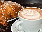 Cafe Promenade Croissant and Coffee Close Up