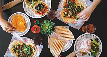 Mexican food family style with tons of options at El Loco Fresh