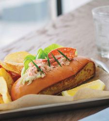 Lobster roll served at Hooked Seafood