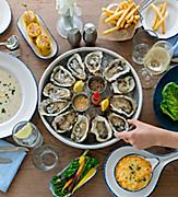 hooked seafood oysters corn crab lobster fish