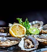 Raw oysters with lemon served up at Hooked Seafood