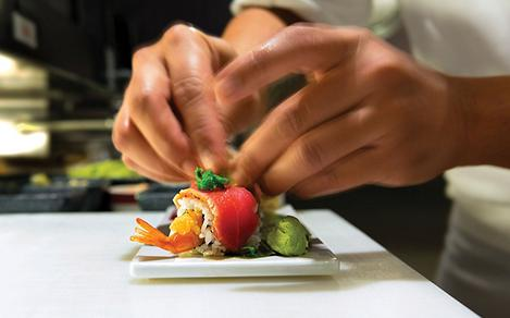 Izumi Sushi Chef Prepping Food
