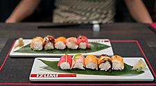 Two plates with sushi at Izumi on a Royal Caribbean cruise ship