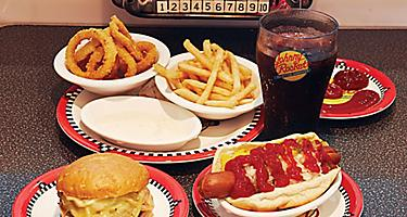 Fast food, Johnny Rockets, Restaurant, Mariner of the Seas?, Voyager class, MA, burger and fries, french fries, cheeseburger, American style