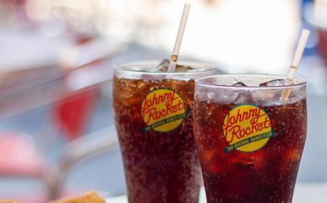Fries, onion rings and two sodas at Johnny Rockets on a Royal Caribbean cruise ship