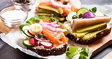A fresh smorrebrod sandwich in Aarhus, Denmark