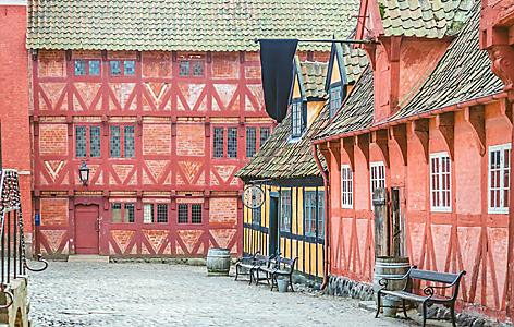 Historical buildings in Aarhus, Denmark