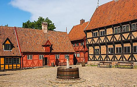 An old town plaza at Aarhus, Denmark