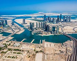 Aerial view of Abu Dhabi from a helicopter