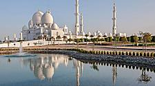 Sheikh Zayed Mosque in Middle East United Arab Emirates with reflection on water in Abu Dhabi