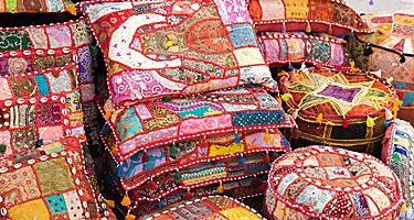 Handmade pillows sold at the local markets in Abu Dhabi, United Arab Emirates