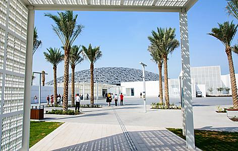 The modern museum called the Abu Dhabi Louvre in Saadiyat Island