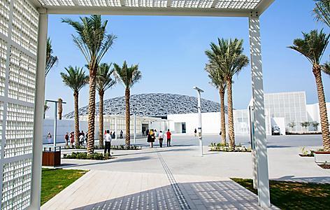 The modern museum called the Abu Dhabi Louvre in Saadiyat Island