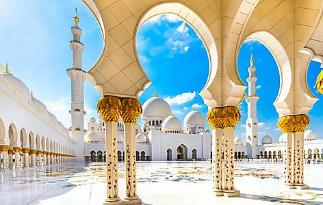 The Sheikh Zayed Mosque in Abu Dhabi, United Arab Emirates
