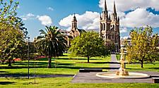 View of St. Peter's Cathedral from the Pennington Gardens in Adelaide, Australia.