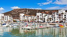 View of a harbour and coastal buildings in Agadir, Morocco