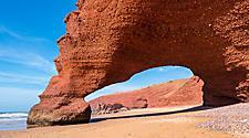 The sandstone arch at Legzira Beach in Morocco