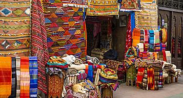 A shop in Agadir, Morocco selling colorful fabrics