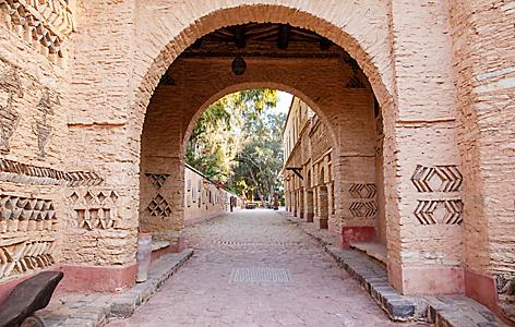 An arch in Agadir, Morocco that displays traditional architectural details