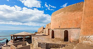 View of the exterior walls of the Kasbah Oufella fortress in Agadir, Morocco