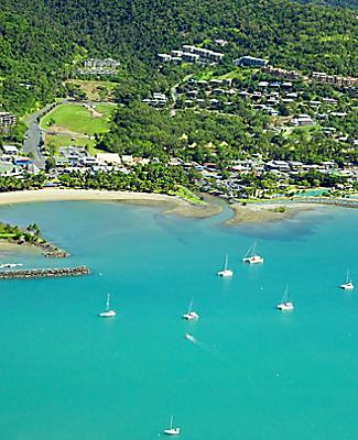 An aerial view of Airlie Beach, Australia