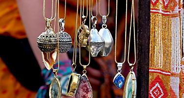An assortment of handcrafted artisan necklaces
