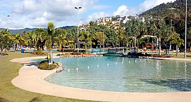 View of the Airlie Beach Lagoon in downtown Airlie Beach, Australia