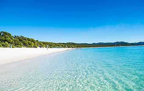Whitehaven beach during a sunny, clear day in Australia