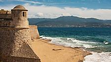 A coastal citadel and beach in Ajaccio, Corsica