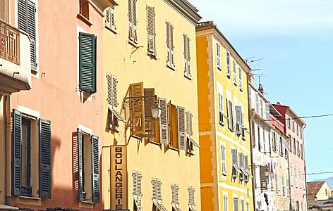 Colorful homes on a street in Ajaccio, Corsica