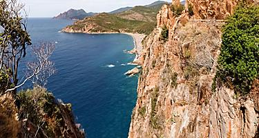 Coastal view in Corsica from cliff
