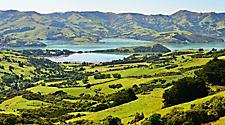 View of the mountains and lush landscape in Akaroa, New Zealand