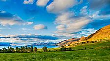 Scenic countryside landscape in Akureyri, Iceland