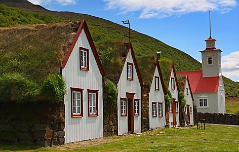 Buildings at the Laufas Rectory Farm Museum in Akureyri, Iceland