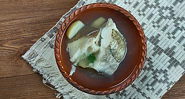A bowl of fish soup