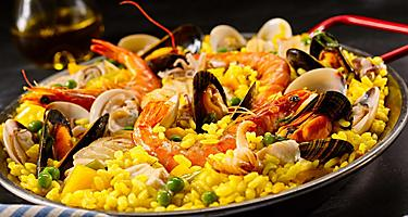 A bowl of seafood paella