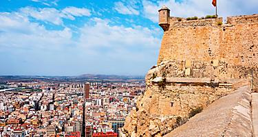 The Santa Barbara castle with a view of the city of Alicante, Spain in the background