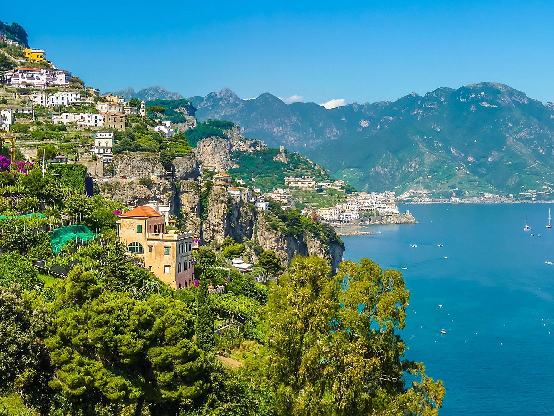 Amalfi Coast (Salerno), Italy Homes Lining A Lush Mountain