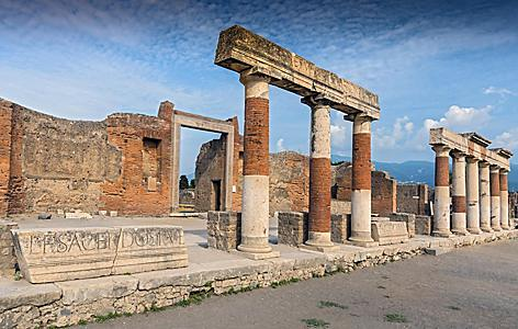 Various different ruins at Pompeii in Italy