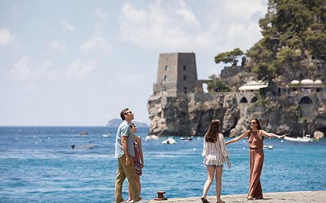 Italy Amalfi Coast Family Enjoying the Beach