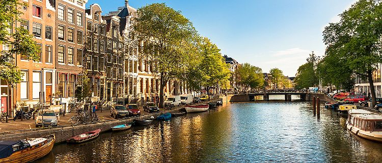 Amsterdam Canal Boat Traditional Houses