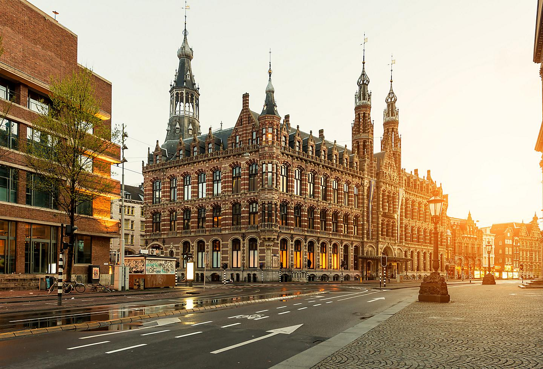 Amsterdam Dam Square Sunset