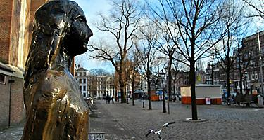 A statue of Anne Frank in Amsterdam, Netherlands