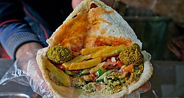Falafel wrap is the local cuisine in Aqaba, Jordan