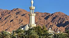 Close-up on the minaret of Al-Sharif Al Hussein Bin Ali Mosque in Aqaba, Jordan